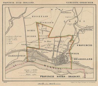 Gemeente Gorinchem anno ca. 1870, kaart J. Kuijper (collectie www.atlasenkaart.nl)