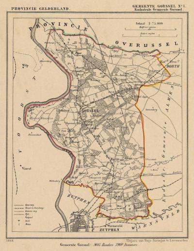 Gemeente Gorssel anno ca. 1870, kaart J. Kuijper, exclusief de begin 19e eeuw opgeheven gemeente Almen en exclusief de in 1831 opgeheven gemeente Dorth