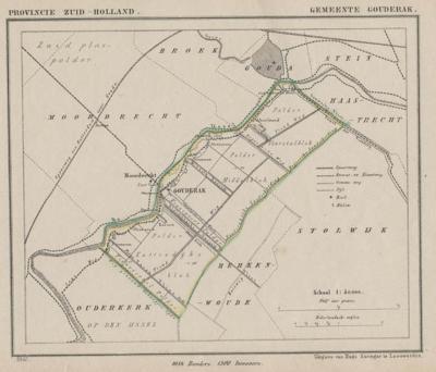 Gemeente Gouderak annno ca. 1870, kaart J. Kuijper (collectie www.atlasenkaart.nl)
