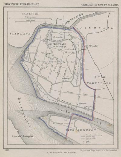 Gemeente Goudswaard anno ca. 1870, kaart J. Kuijper (collectie www.atlasenkaart.nl)