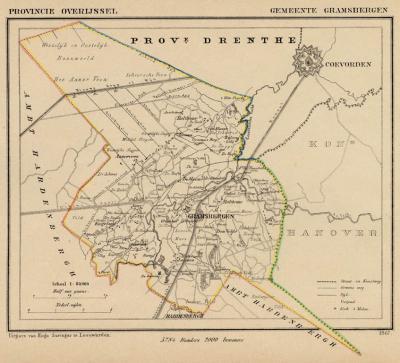 Gemeente Gramsbergen anno ca. 1870, kaart J. Kuijper (collectie www.atlasenkaart.nl)
