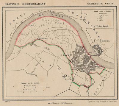 Gemeente Grave anno ca. 1870, kaart J. Kuijper (collectie www.atlasenkaart.nl)