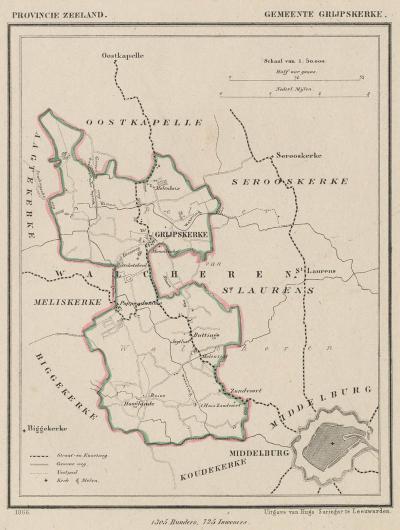 Gemeente Grijpskerke anno ca. 1870, kaart J. Kuijper (collectie www.atlasenkaart.nl)