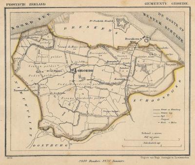 Gemeente Groede anno ca. 1870, kaart J. Kuijper (collectie www.atlasenkaart.nl)