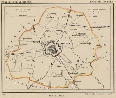 Gemeente Groenlo anno ca. 1870, kaart J. Kuijper
