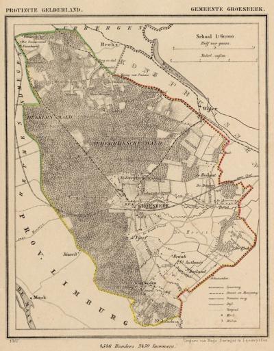 Gemeente Groesbeek anno ca. 1870, kaart J. Kuijper