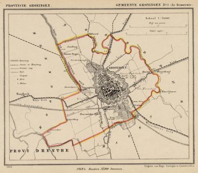 Gemeente Groningen anno ca. 1870, kaart J. Kuijper (collectie www.atlasenkaart.nl)