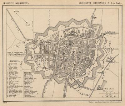 Stad Groningen anno ca. 1870, kaart J. Kuijper (collectie atlasenkaart.nl)