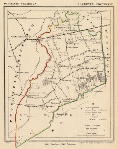 Gemeente Grootegast anno ca. 1870, kaart J. Kuijper (collectie www.atlasenkaart.nl)