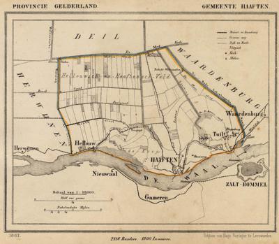 Gemeente Haaften anno ca. 1870, kaart J. Kuijper