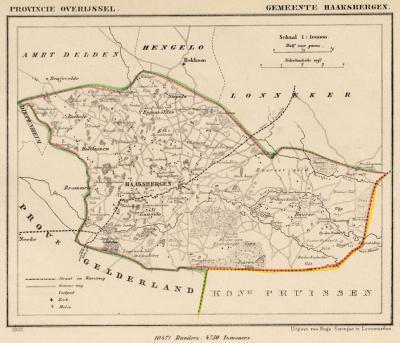 Gemeente Haaksbergen anno ca. 1870, kaart J. Kuijper (collectie www.atlasenkaart.nl)