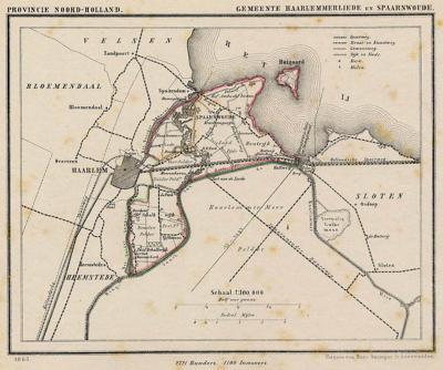 gemeente Haarlemmerliede en Spaarnwoude anno ca. 1870 kaart J. Kuijper.