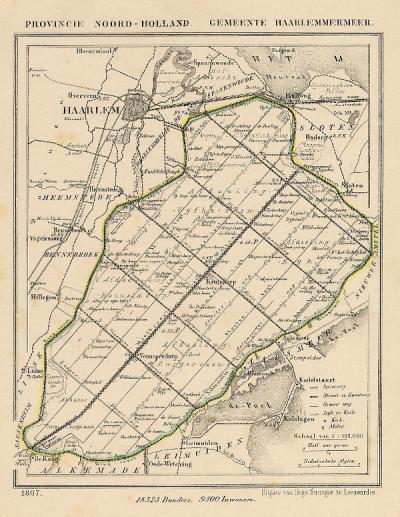 Gemeente Haarlemmermeer anno ca. 1870, kaart J. Kuijper (collectie www.atlasenkaart.nl)