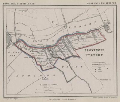 Gemeente Haastrecht annno ca. 1870, kaart J. Kuijper (collectie www.atlasenkaart.nl)