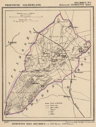 Kaart van de begin 19e eeuw kennelijk bestaan hebbende gemeente Hall, situatie anno ca. 1870, kaart J. Kuijper
