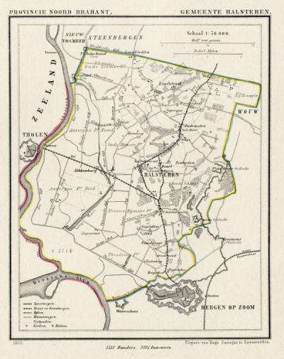 Gemeente Halsteren anno ca. 1870, kaart J. Kuijper (© www.atlasenkaart.nl)