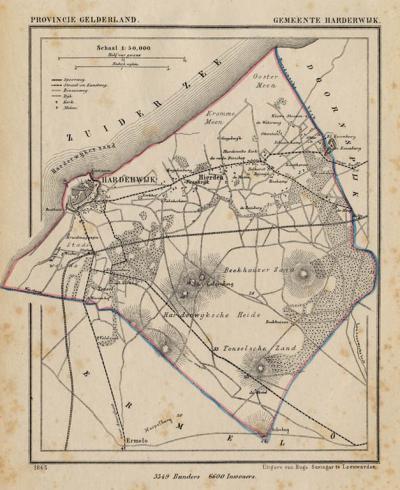 Gemeente Harderwijk anno ca. 1870, kaart J. Kuijper