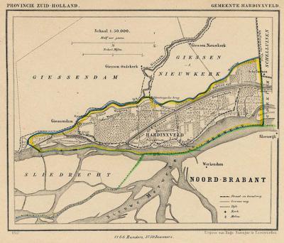 Gemeente Hardinxveld anno ca. 1870, kaart J. Kuijper (collectie www.atlasenkaart.nl)
