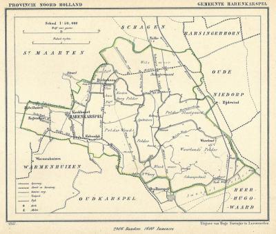 Gemeente Harenkarspel anno ca. 1870, kaart J. Kuijper