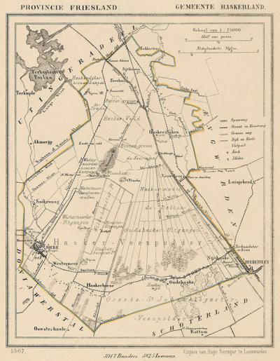 Gemeente Haskerland anno ca. 1870, kaart J. Kuijper (collectie www.atlasenkaart.nl)