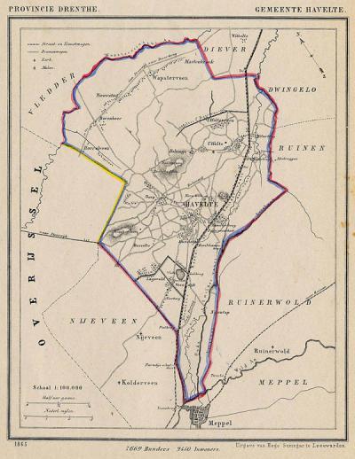 Gemeente Havelte anno ca. 1870, kaart J. Kuijper (collectie www.atlasenkaart.nl)