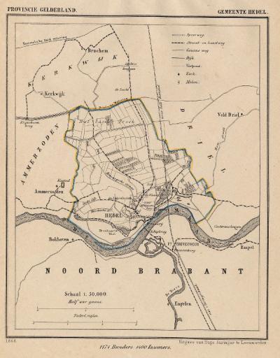 Gemeente Hedel anno ca. 1870, kaart J. Kuijper