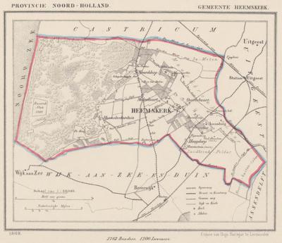 Gemeente Heemskerk anno ca. 1870, kaart J. Kuijper (collectie www.atlasenkaart.nl)