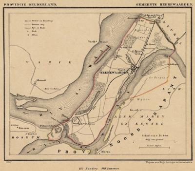 Gemeente Heerewaarden anno ca. 1870, kaart J. Kuijper