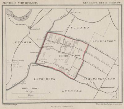 Gemeente Hei- en Boeicop anno ca. 1870, kaart J. Kuijper. Aan naamgeving en lettertype van de plaatsnamen kun je zien dat er in die tijd nog sprake was van het dorp Heicop en de buurtschap Boeicop. Dat is dus later pas één dorp en plaatsnaam geworden.