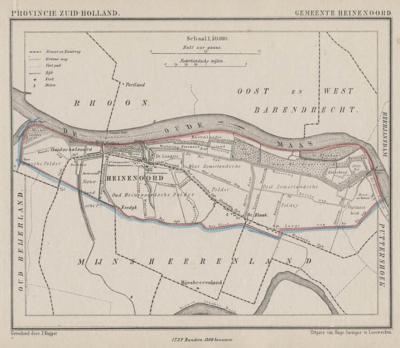 Gemeente Heinenoord anno ca. 1870, kaart J. Kuijper (collectie www.atlasenkaart.nl)