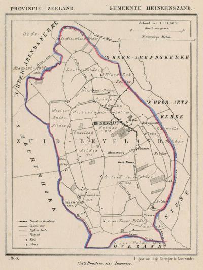 Gemeente Heinkenszand anno ca. 1870, kaart J. Kuijper (collectie www.atlasenkaart.nl)
