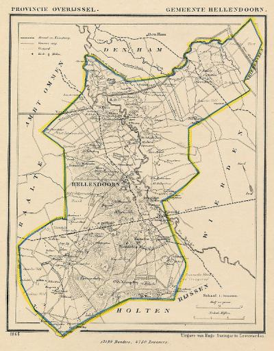 Gemeente Hellendoorn anno ca. 1870, kaart J. Kuijper (collectie www.atlasenkaart.nl)