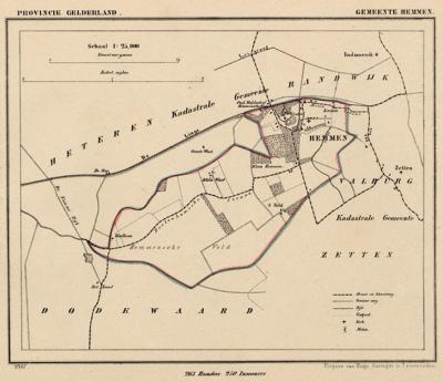 Gemeente Hemmen anno ca. 1870, kaart J. Kuijper