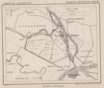 Gemeente Hendrik-Ido-Ambacht anno ca. 1870, kaart J. Kuijper (© www.atlasenkaart.nl)