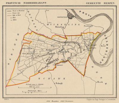 Gemeente Herpen anno ca. 1870, kaart J. Kuijper