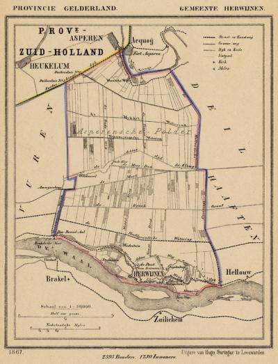 Gemeente Herwijnen anno ca. 1870, kaart J. Kuijper