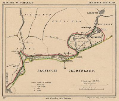 Gemeente Heukelum anno ca. 1870, kaart J. Kuijper (collectie www.atlasenkaart.nl)