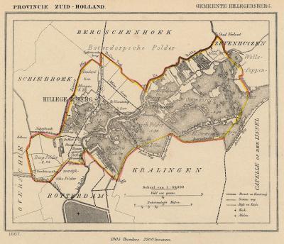 Gemeente Hillegersberg anno ca. 1870, kaart J. Kuijper (collectie www.atlasenkaart.nl)