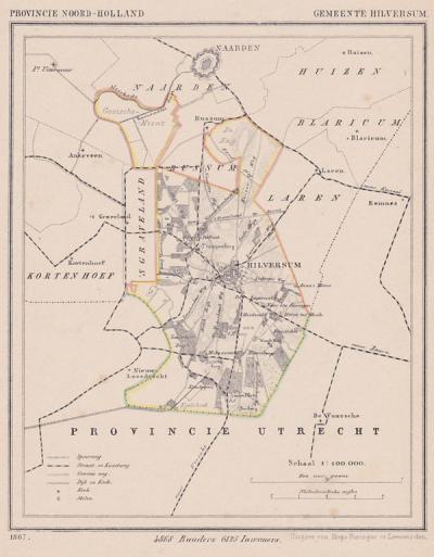 Gemeente Hilversum anno ca. 1870, kaart J. Kuijper (collectie www.atlasenkaart.nl)