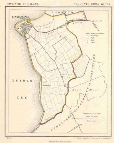 Gemeente Hindeloopen anno ca. 1870, kaart J. Kuijper (collectie www.atlasenkaart.nl)