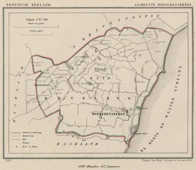 Gemeente Hoedekenskerke anno ca. 1870, kaart J. Kuijper (© www.atlasenkaart.nl)