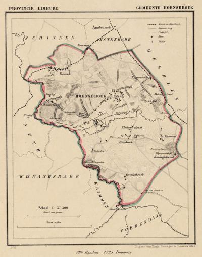 Gemeente Hoensbroek anno ca. 1870, kaart J. Kuijper (collectie www.atlasenkaart.nl)