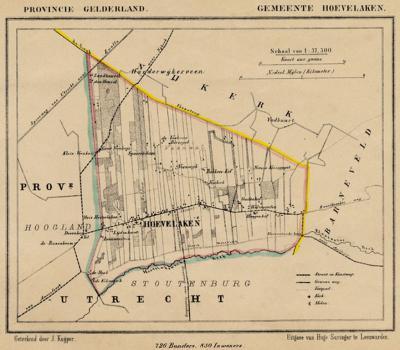 Gemeente Hoevelaken anno ca. 1870, kaart J. Kuijper