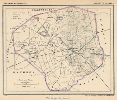 Gemeente Holten anno ca. 1870, kaart J. Kuijper (collectie www.atlasenkaart.nl)