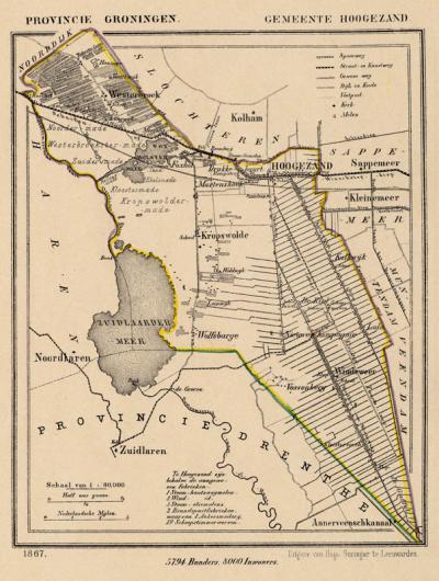 Gemeente Hoogezand anno ca. 1870, kaart J. Kuijper (collectie www.atlasenkaart.nl)