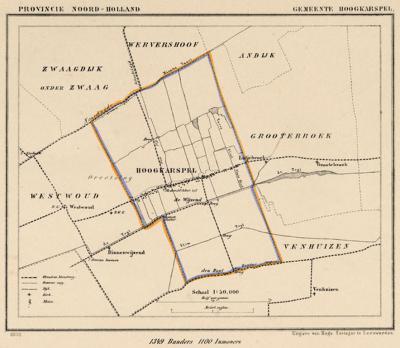 Gemeente Hoogkarspel anno ca. 1870, kaart J. Kuijper (collectie www.atlasenkaart.nl)