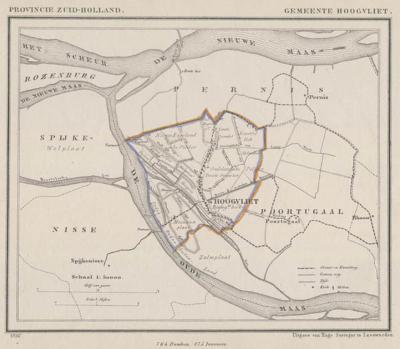 Gemeente Hoogvliet anno ca. 1870, kaart J. Kuijper (collectie www.atlasenkaart.nl)