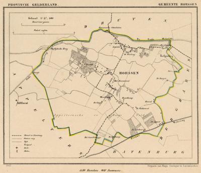 Gemeente Horssen anno ca. 1870, kaart J. Kuijper