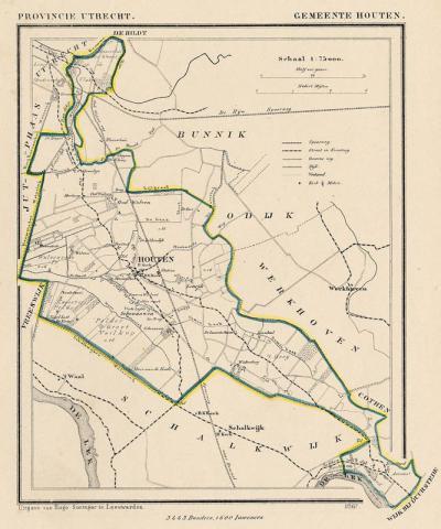 Gemeente Houten anno ca. 1870, kaart J. Kuijper. Zoals je hier mooi kunt zien, grensde de gemeente in die tijd aan maar liefst 10 omliggende gemeenten. Tegenwoordig zijn dat er nog 5. (collectie www.atlasenkaart.nl)