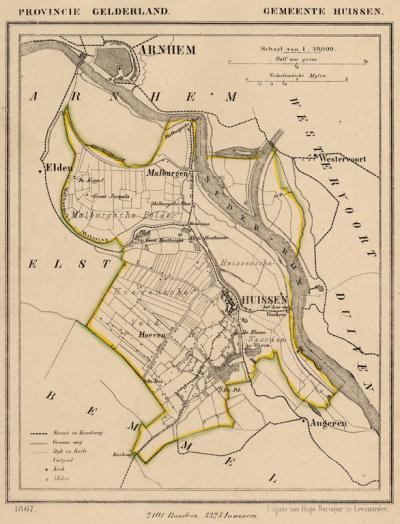 Gemeente Huissen anno ca. 1870, kaart J. Kuijper